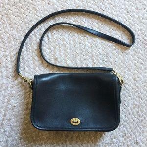 COACH Vintage Crossbody Purse in Black Leather